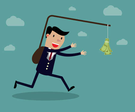 Business executive running after dangling dollar note in front of him. Creative vector cartoon illustration on self defeating method to achieve wealth concept