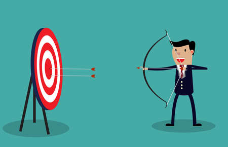 Cartoon businessman with bow and arrow hitting the center bulls-eye in archery target. Conceptual vector illustration on green background.