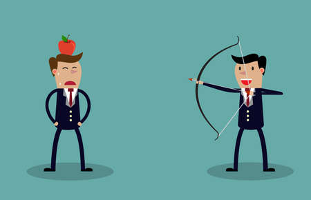Business executive holding bow and arrow aiming to shoot at apple on another mans head. Vector illustration for business risk concept