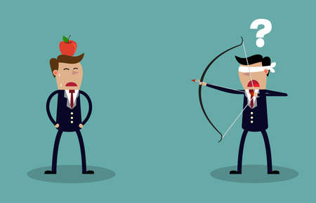 afraid man: Blindfold businessman executive holding bow and arrow aiming to shoot at apple on another mans head. Business risk concept. Vector illustration Illustration