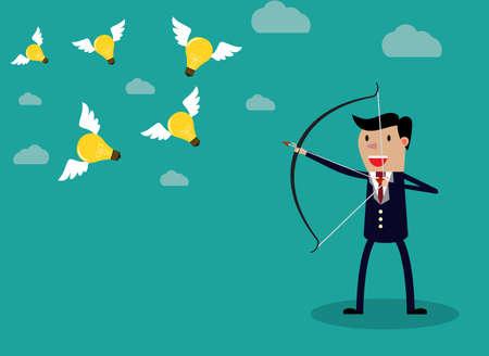 incremento: Hombre de negocios con un arco y una flecha golpear la bombilla volar. Ilustración del vector de concepto de negocio Vectores