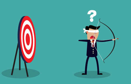 Hombre de negocios con los ojos vendados que sostiene el arco y la flecha look para objetivo en dirección equivocada. Concepto de negocio. Ilustración vectorial