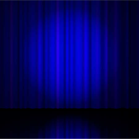 blue curtain: Blue  curtain from the theatre with a spotlight. Vector illustration