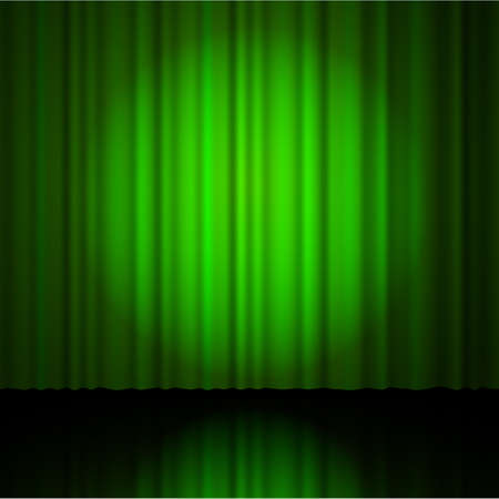 curtain to theater stage: green  curtain from the theatre with a spotlight. Vector illustration