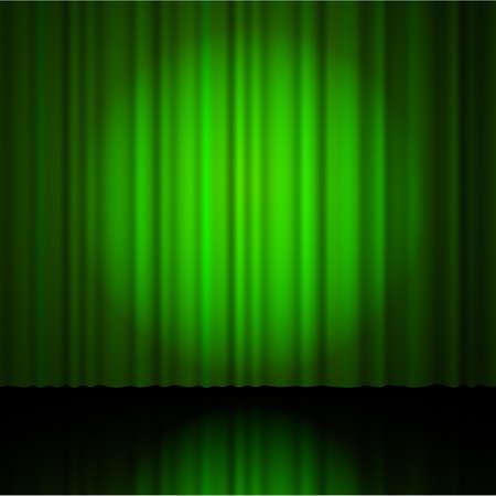 sipario chiuso: tenda verde dal teatro con un faretto. illustrazione di vettore