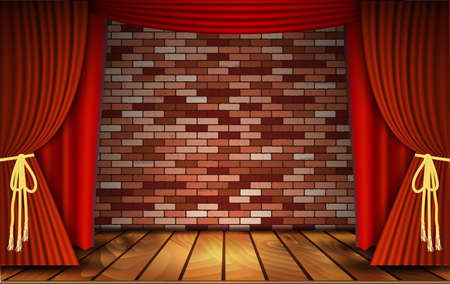 theatrical performance: Red curtains or velvet drapes on an old rustic brick wall as a theatrical stage for theater and stand up comedy performance. Vector illustration.