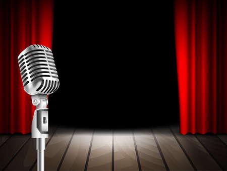Microfono Vintage e tenda rossa sfondo realistico illustrazione simbolo palco vettoriale. Musicale, stand up comico spettacolo notturno o karaoke parte di fondo con lo spazio del testo. design retrò