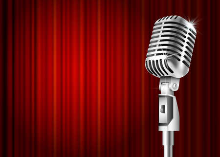 Vintage metal microphone against red curtain backdrop. mic on empty theatre stage, vector art image illustration. stand up comedian night show or karaoke party background with text space. retro design