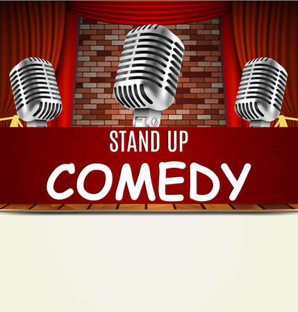 curtain up: Stand Up Comedy Show flyer, banner, poster. Vintage microphone against red curtain and brick wall. vector art image illustration. stand up comedian night show background  with text space  retro design