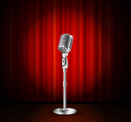 Vintage metal microphone against red curtain backdrop. mic on empty theatre stage, vector art image illustration. stand up comedian night show or karaoke party background. retro design