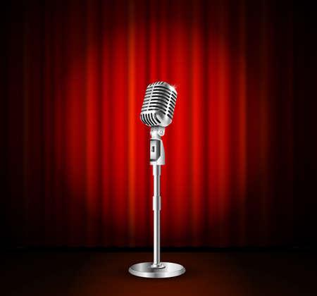 Vintage metaal microfoon tegen rode gordijn achtergrond. mic op leeg theater podium, vector kunst illustratie. stand-up comedian night show of karaoke feest achtergrond. retro design Stock Illustratie