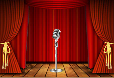 comedian: Vintage metal microphone against red curtain backdrop. mic on empty theatre stage, vector art image illustration. stand up comedian night show or karaoke party background. retro design