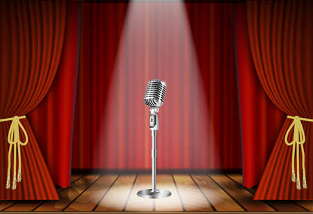 live music: Metallic silver vintage microphone standing on empty stage under beam of spotlight light. mic on podium in the dark against red curtain backdrop. vector art image illustration, retro design Illustration