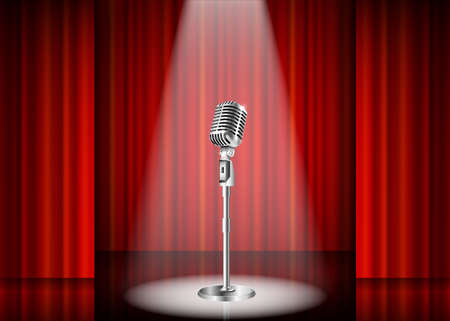 Metallic silver vintage microphone standing on empty stage under beam of spotlight light. mic on podium in the dark against red curtain backdrop. vector art image illustration, retro design Stok Fotoğraf - 49398254