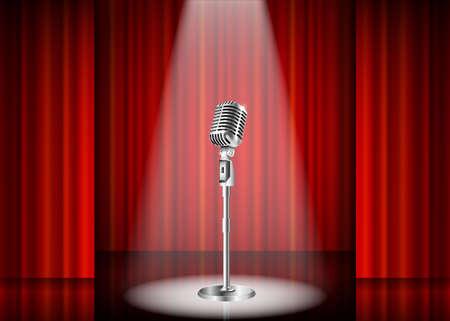 Metallic silver vintage microphone standing on empty stage under beam of spotlight light. mic on podium in the dark against red curtain backdrop. vector art image illustration, retro design Illustration