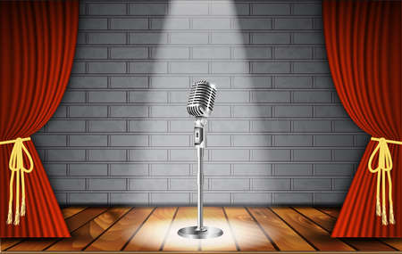 sing: Metallic silver vintage microphone standing on empty stage under beam of spotlight light on brick wall. vector art image illustration, retro design