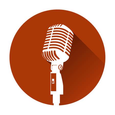 De uitstekende witte microfoon van het silhouet retro stadium op rode achtergrond. web pictogram in cirkelframe. oude technologie object concept, flat en schaduw thema ontwerp teken, vector illustratie