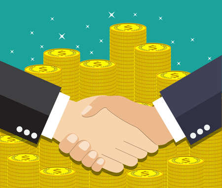 equal opportunity: Businessmen handshake. vector illustration in flat design at green background with gold coins. shaking hands. successful transaction