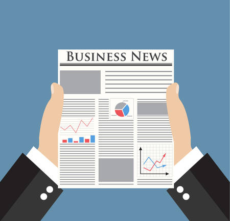 news reader: Businessman holding Business News newspaper with graph, chart and diagram on the first page. vector illustration in flat design on blue backgound for business concept. Illustration