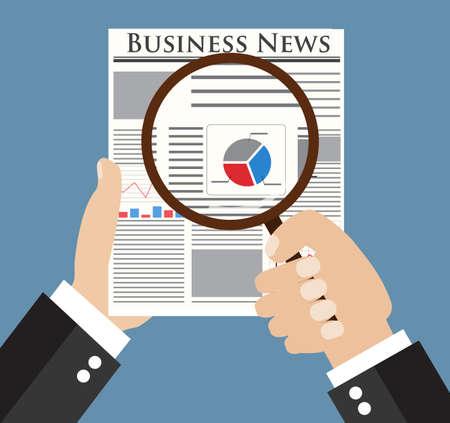 Homme d'affaires lisant un journal avec graphique, tableau et diagramme sur la première page à la loupe. illustration vectorielle dans la conception à plat sur backgound bleu pour concept d'entreprise. Vecteurs