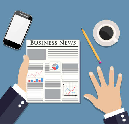 articles: Businessman reading newspaper with business articles with graph, chart and diagram on the first page and drinking coffee.  vector illustration in flat design  for business concept. smartphone