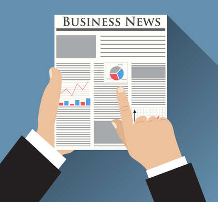 business backgound: Businessman holding Business News newspaper with graph, chart and diagram on the first page. vector illustration in flat design on blue backgound for business concept. Illustration