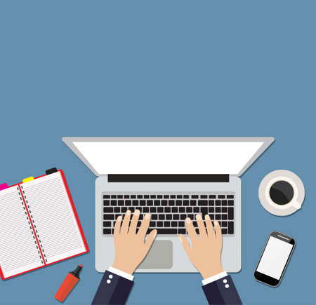 Businessman working on laptop. Hand on notebook keyboard with blank screen monitor. Flat design concept with copy space. Vector illustration. top view Vettoriali