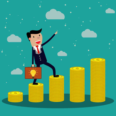 funding: Cartoon Businessman step on stack of gold coin with case of idea like ladder of success. vector illustration in flat design on green backgound,