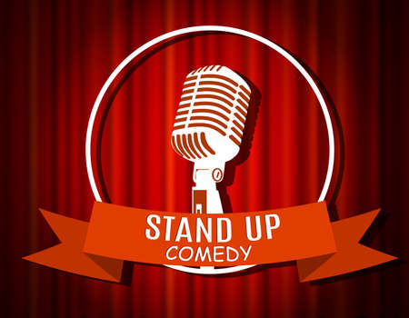 comedian: Vintage white silhouette microphone icon against red curtain backdrop. mic on empty theatre stage, vector image illustration. stand up comedian night show background. retro design. ribbon