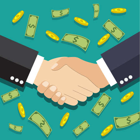 equal opportunity: Businessmen handshake. vector illustration in flat design at green background with dollars and gold coins. shaking hands. successful transaction Illustration