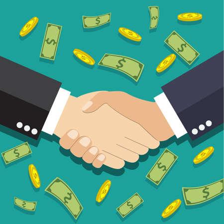 dando la mano: Los hombres de negocios apretón de manos. ilustración vectorial en diseño plano en fondo verde con los dólares y monedas de oro. dar la mano. transacción exitosa Vectores