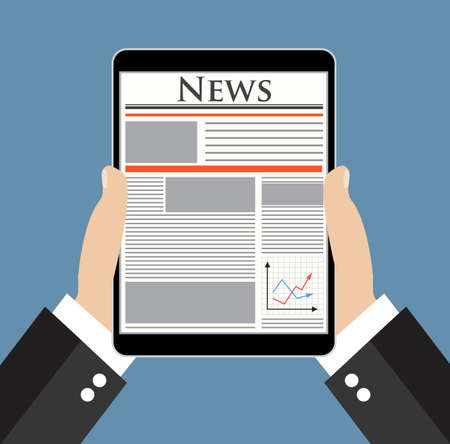 reading news: Businessman hand holding tablet and reading news online.  Vector illustration in flat design  for business concept.