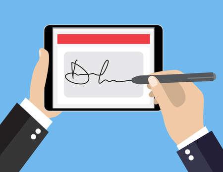 태블릿에 디지털 서명을 서명 사업가의 손입니다. 비즈니스 개념에 대 한 플랫 디자인 벡터 일러스트 레이 션.