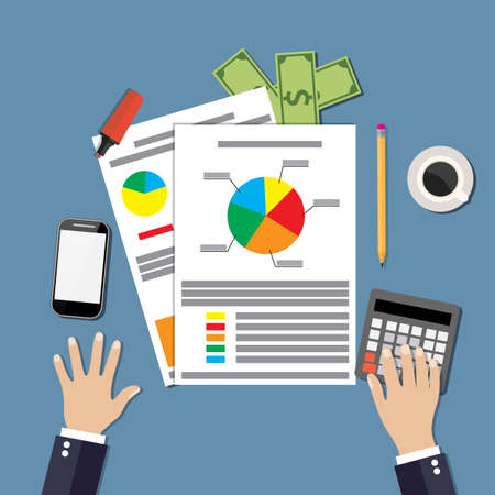contabilidad financiera cuentas: El hombre de negocios de trabajo witn Declaración financiera con la tabla y el gráfico. calculadora, dinero, teléfonos inteligentes y café. Ilustración del vector en diseño plano para el concepto de negocio Vectores