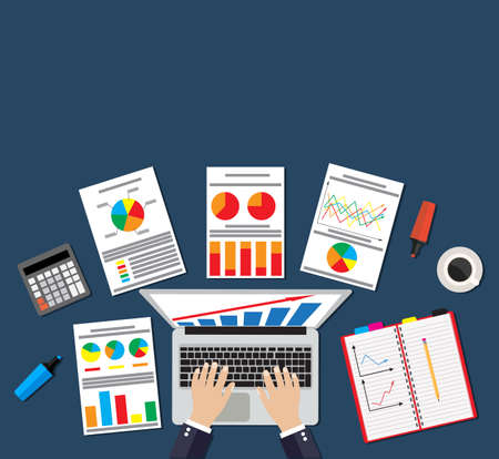 bank statement: Businessman work witn Financial Statement with chart and graph, LAPTOP. calculator, notepad, smartphone and coffee Vector illustration in flat design  for business concept. Analysis, Analytics concept Illustration