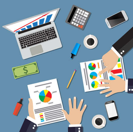financial statement: Businessmen work witn Financial Statement. Vector illustration in flat design  for business concept. Teamwork concept. Businesspeople workplace top angle above view