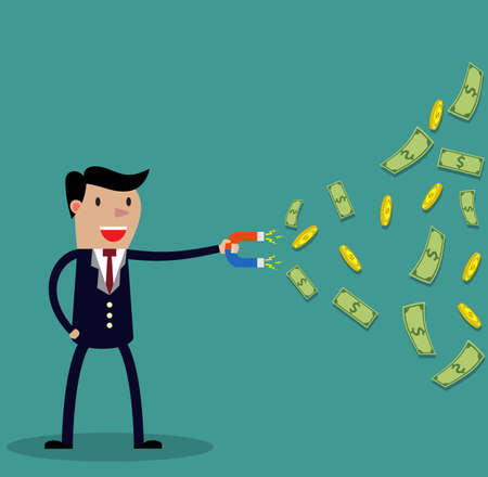 strong magnetic field: Businessman with magnet and Gold coin and money. illustration in flat design, Financials, work motivation. Business, success, money, investments, wealth concept