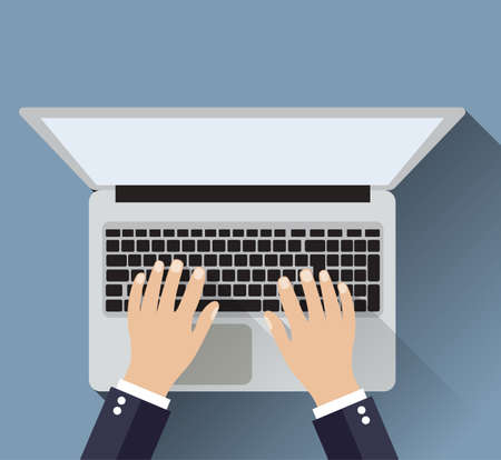 use computer: Businessman working a white laptop. Hand on notebook keyboard with blank screen monitor. Vector illustration in flat design  for business concept