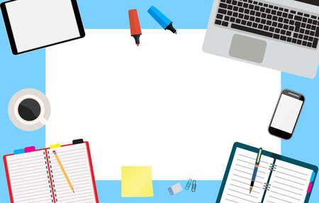 Office desktop workspace laptop, tablet, notepad, phone, coffee. Modern creative mock up. Vector illustration in flat design  for business concept.