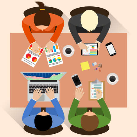 people laptop: Staff around table report analytics working laptop. Brainstorm report planning. Office table top view.  Teamwork creative office workspace. Vector flat design for business web infographic concept