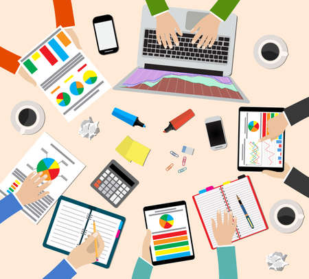 people laptop: Group of people working, planning, brainstorming idea of company strategy. Office table top view.  Teamwork creative office workspace. Vector flat design for business web infographic concept Illustration