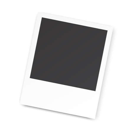 photography frame: Retro blank photography with a black place for your image in a photo album page. photo frame with shadow for your object. Vector illustration Illustration