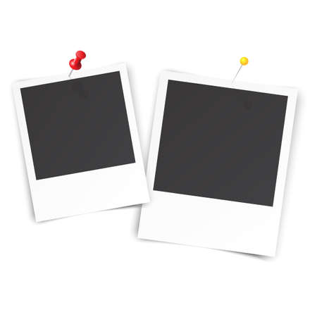 pinned: two blank photo pinned on white wall. photo frame with shadow for your object. Vector illustration