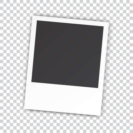 photography frame: Retro blank photography with a black place for your image in a photo album page. photo frame with shadow on a transparent background for your object. Vector illustration Illustration