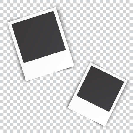 two blank photo pinned on white wall. photo frame with shadow on a transparent background for your object. Vector illustration