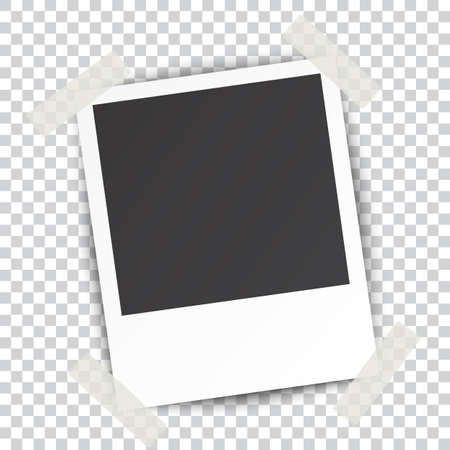 photo album page: Retro blank photography with a black place for your image in a photo album page. photo frame with shadow Sticked on Duct Tape on a transparent background for your object. Vector illustration