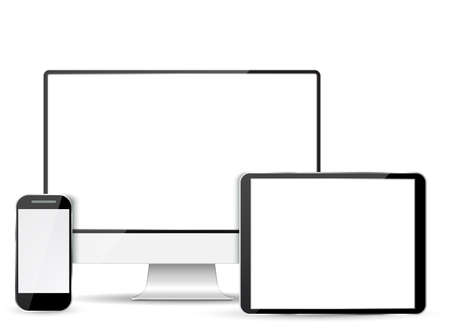 retina display: Set of realistic computer monitor, tablet and mobile phone with empty  screen.