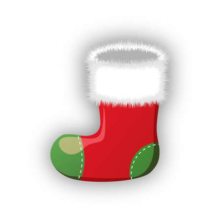white fur: Empty christmas stocking isolated on white. Decorative red sock with white fur and patches. Vector illustration for christmas, new year, decoration, winter holiday, silvester, tradition, etc