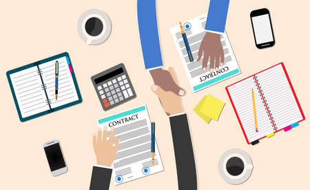 business deal: Business partner handshake deal contract meeting. Office table top view. Business people handshake meeting signing agreement. Vector flat design for business web infographic concept