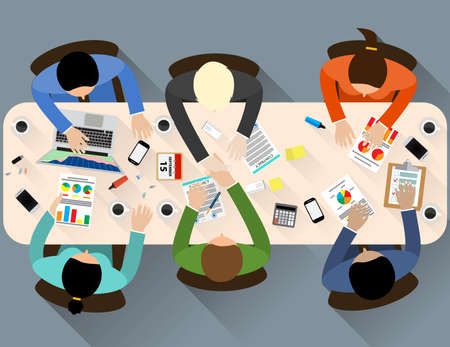 business partner: Business partner handshake deal contract meeting. Group of people Office table top view. Business people handshake meeting signing agreement. Vector flat design for business web infographic concept